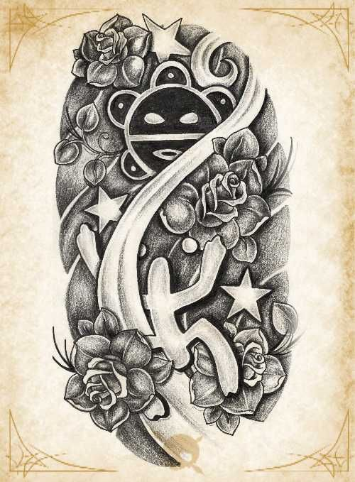 Taino Coqui With Flowers Tattoo Designs