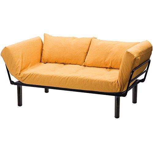 Merax Convertible Sleeper Futon Sofa Chaise Lounge Sofa Bed Metal