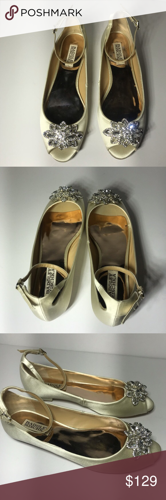 Badgley Mischka Kaidence Metallic Ballet Flats Badgley Mischka metallic suede ba