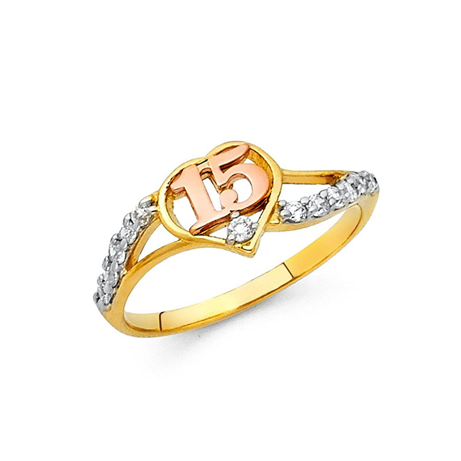 14k Two Toned Gold CZ Cubic Zirconia 15 Years Birthday Heart Ring