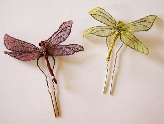 Textile Dragonfly Statement Brooch or Hair Fork by BlueTerracotta
