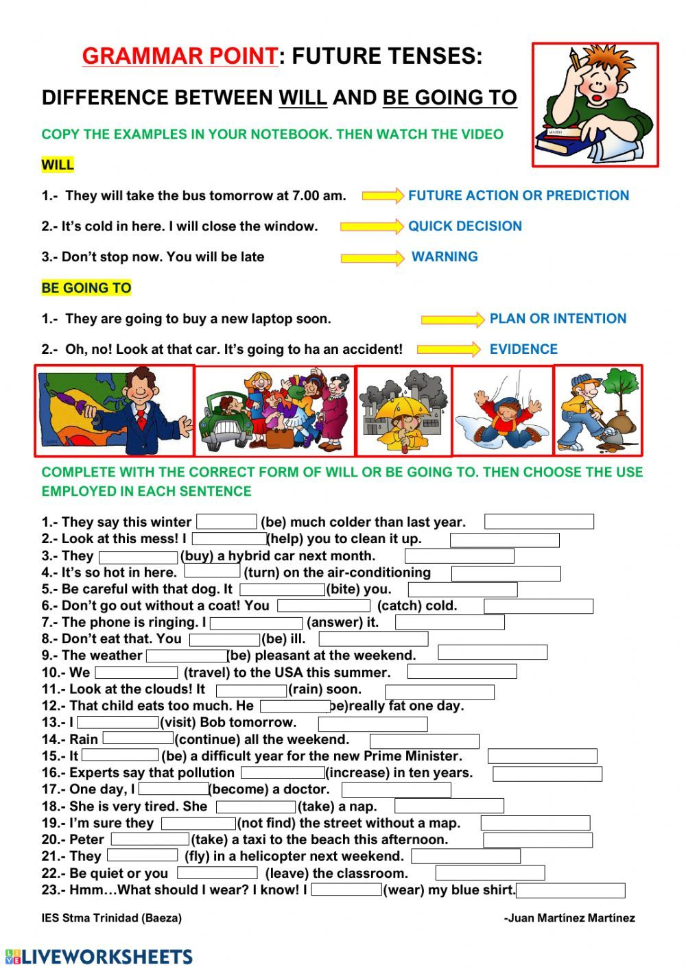 Will And Be Going To Interactive Worksheet Worksheets For Kids Teaching English Grammar English As A Second Language Esl