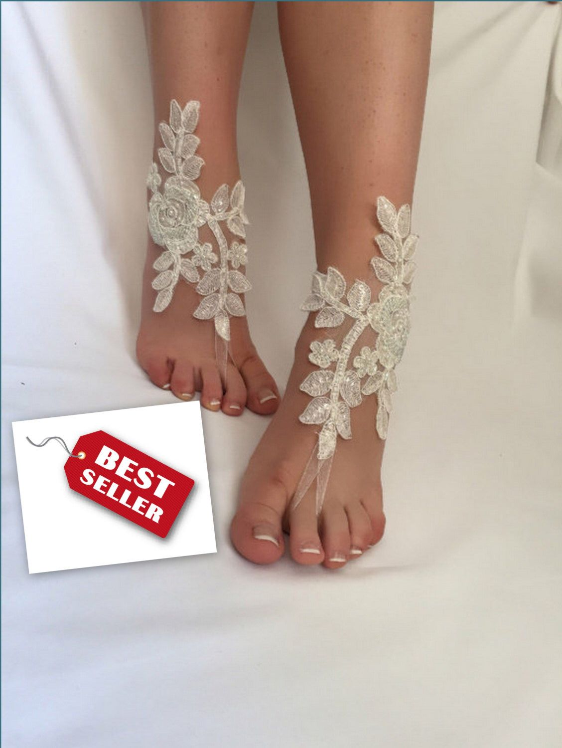 Beach wedding foot jewelry  Ivory White Pink Blue Champagne Black Bridal Barefoot Sandals
