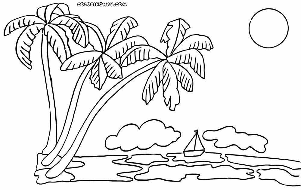 Coloring Page Ocean Landscapes With Palm Trees Google Search