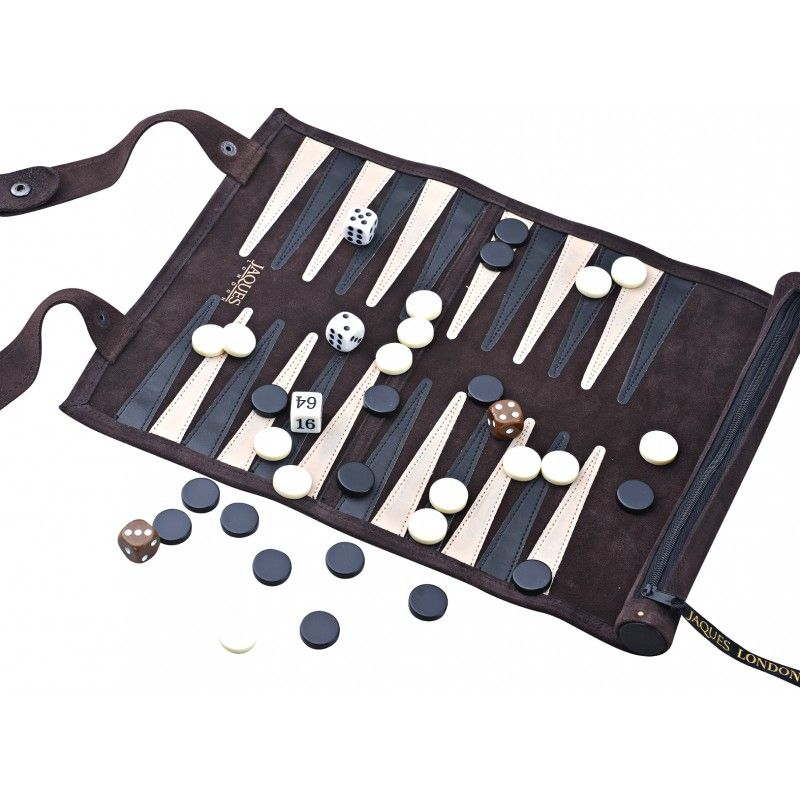 Backgammon Set - Luxury Leather Hand Stitched - Travel Roll