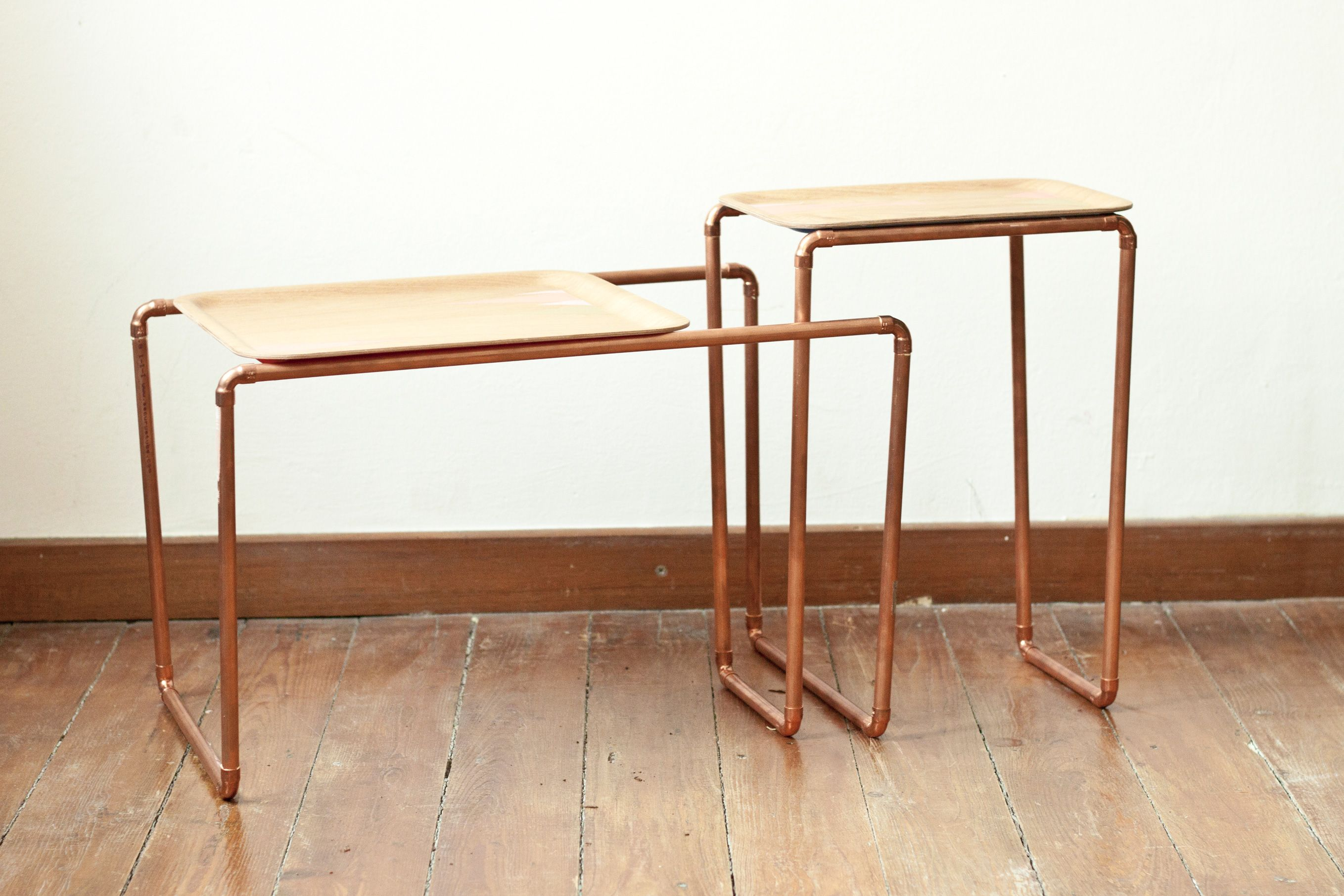 Palmbomen Made This Cute Side Tables Out Of Copper Tubes And Wooden Trays.  Measure Your