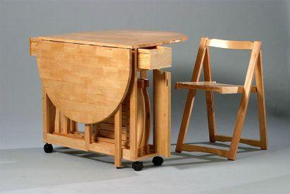 Mesa plegable con sillas incorporadas para salon o cocina - Sillas plegables ikea ...