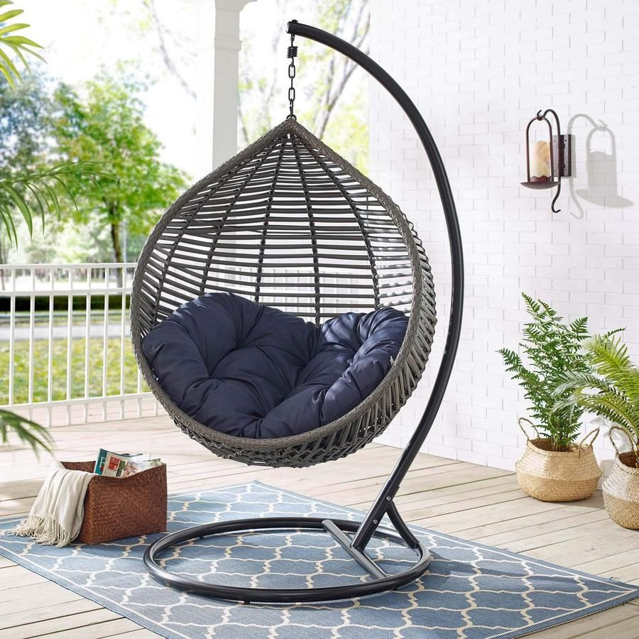 Modway Hide Outdoor Patio Swing Chair Without Stand Gray White Hammock Town In 2020 Patio Swing Chair Swing Chair Outdoor Swinging Chair