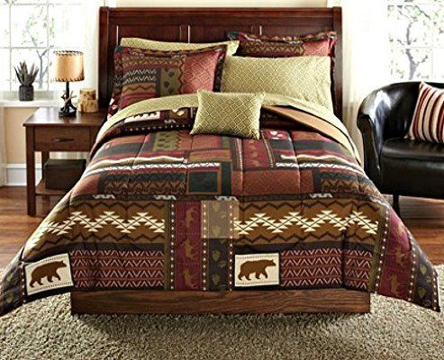 Bear Lodge Comforter Bedding and Deer Sheet Set Cabin Hunting Lodge Bed in Bag