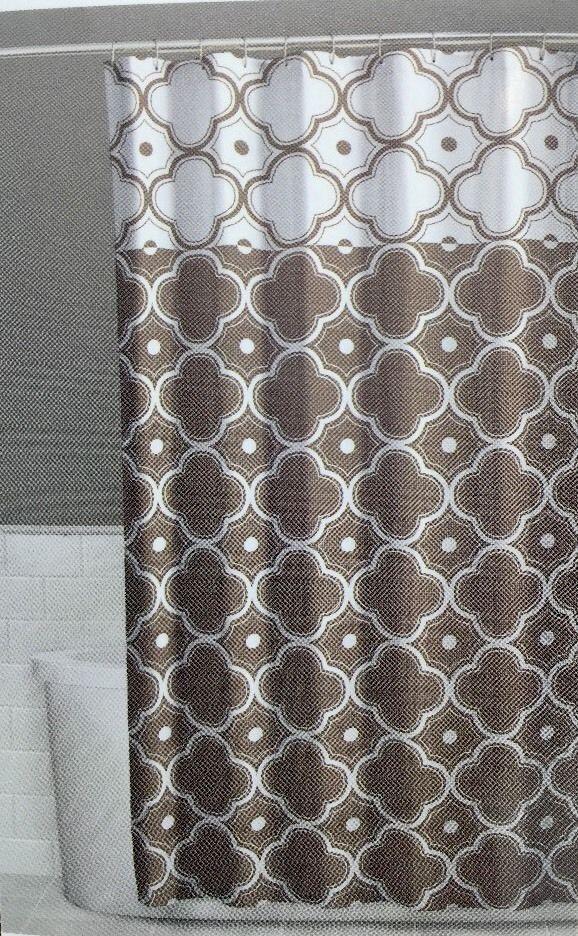 Fabric Shower Curtain 70 X 72 Inch Vera Tan Brown Beige Comfort Bay New