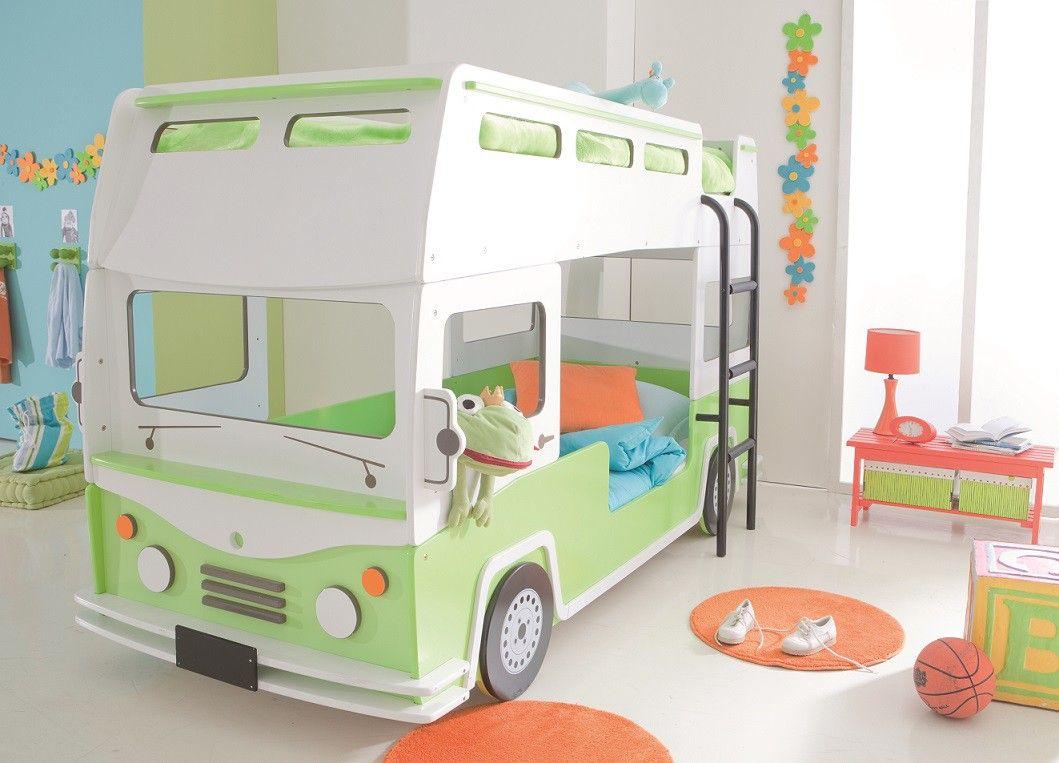 lits superposés enfant 90x190/200 en forme de bus. les enfants