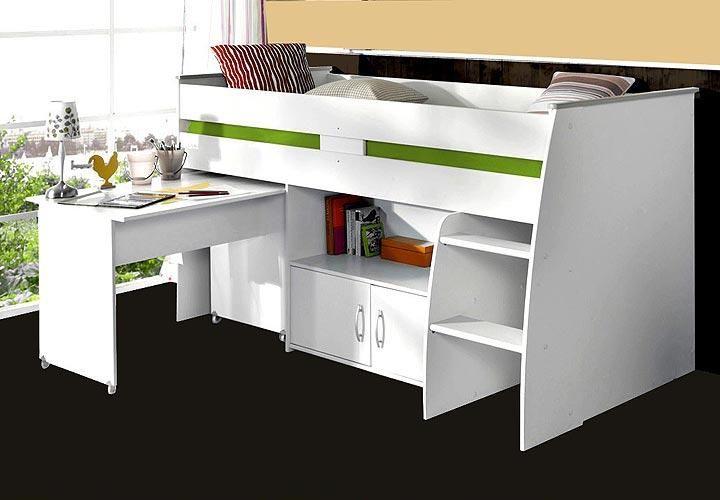 Ikea kinderhochbett mit schreibtisch  Hochbett REVERSE weiß mit Schreibtisch Leiter und Kommode | 1 ...