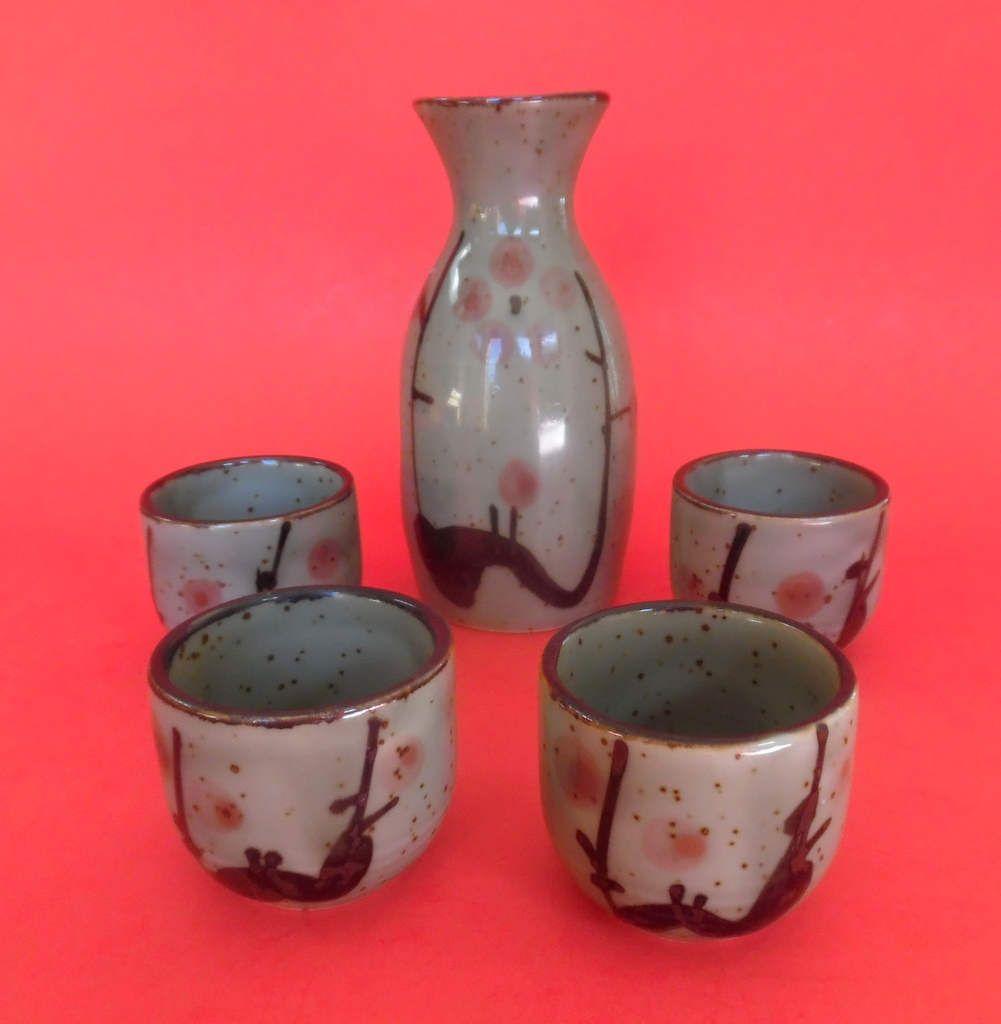 Vintage Sake Set 5 Piece Cups Pottery Glazed Ceramic Japan Etsy Sake Set Sake Sake Bottle