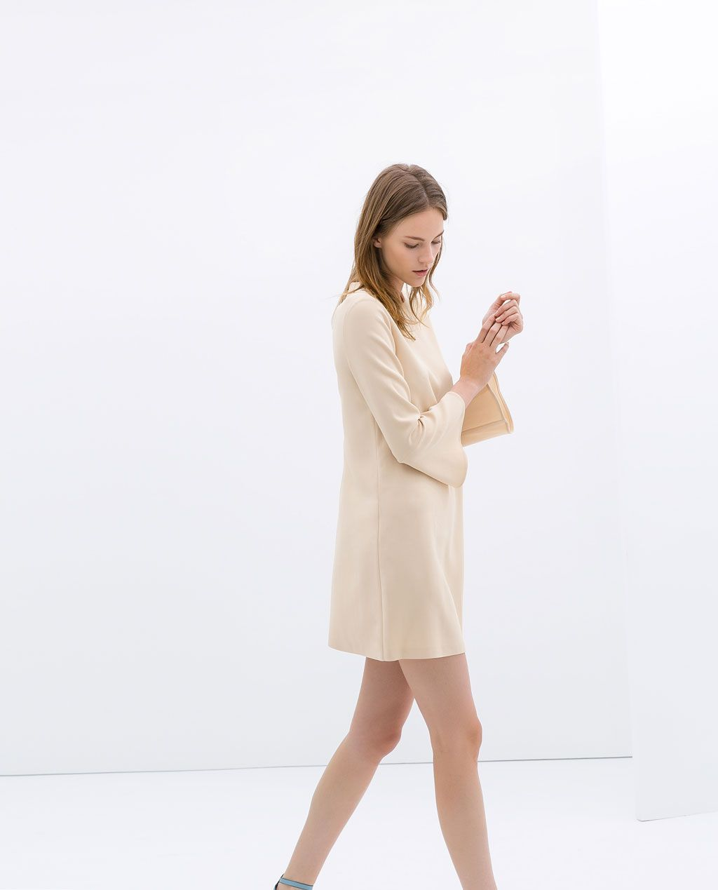 ZARA - SALE - Nude DRESS WITH BELL SLEEVES