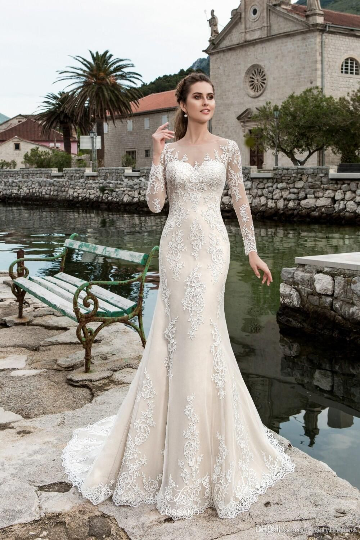 New Designer Long Mermaid Wedding Dresses 2018 Boat Neck Button Back Long Sleeves Court Train Lace Weddi Scoop Wedding Dress Elegant Bridal Gown Bridal Dresses