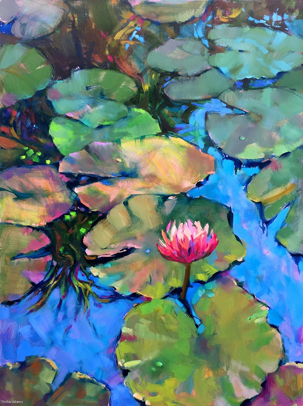 Pond water lily oil painting, hand-painted landsca