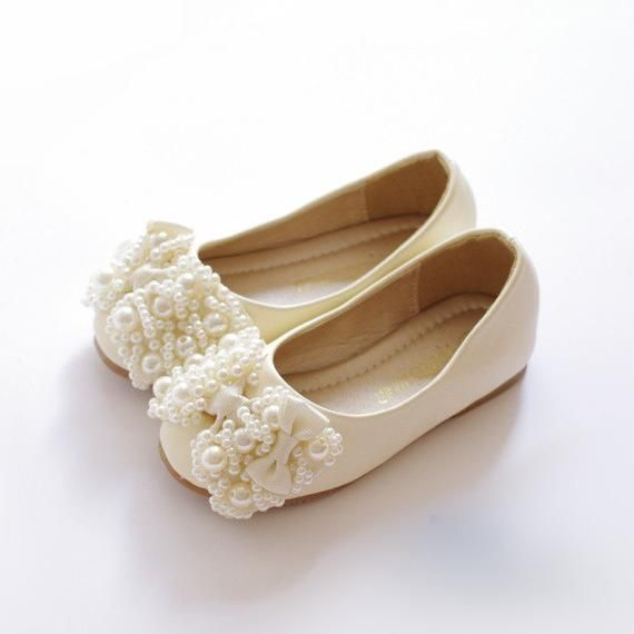 dcde2a14cab7e Ivory Flower Girl Shoes/ Toddler Girl Shoes/Pearl Party Shoes/Pear ...