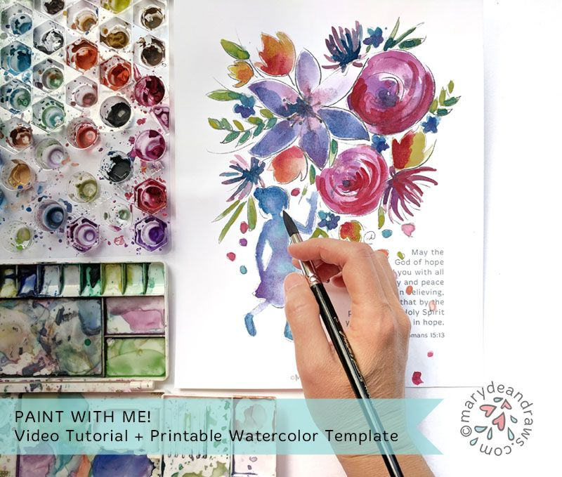 Watercolor With Me Video Tutorial Printable Watercolor Template