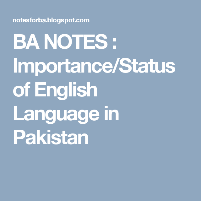 status of english language in pakistan