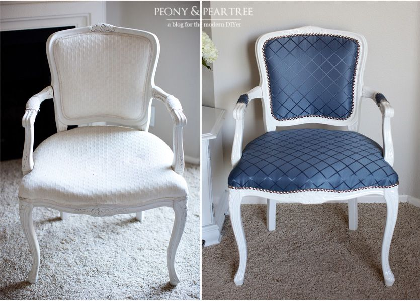 DIY Reupholstered Chair (bring On The Garage Sales)