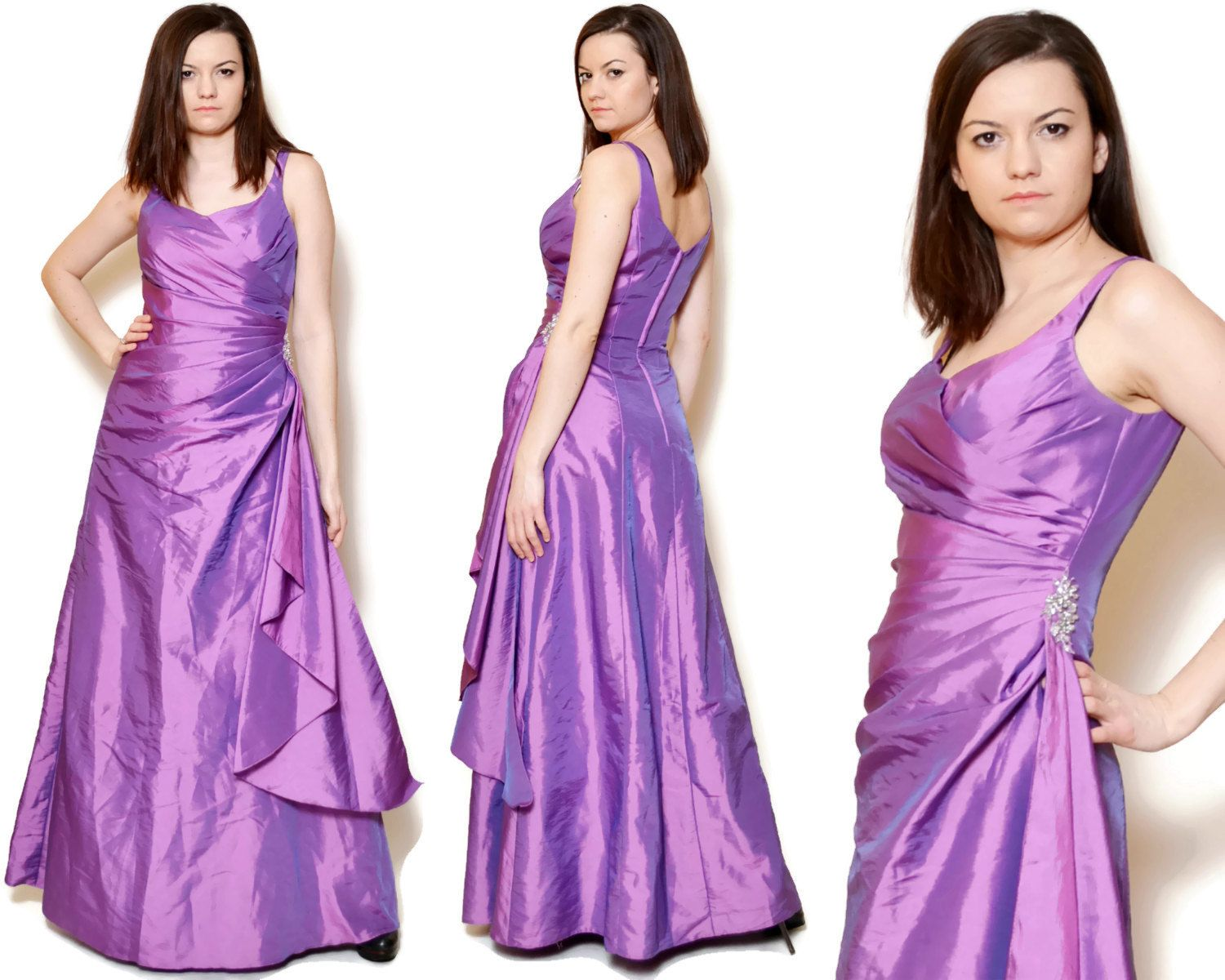 Vintage pink prom dress made in China by Eternity Bride.  The model on the pictures is size S/36 and 165 cm height. Please check measurements with your own to avoid problems with the size. Make sure you double the measurements where shown (*2):  Label size: S/36 Total lenght: 147 cm / 57.8 inches Armpit to bottom: 128 cm / 50.3 inches Armpit to armpit: 42.5 cm *2 / 16.7 inches *2 Waist: 35 cm *2 / 13.7 inches *2 Hips: 50.5 cm *2 / 19.8 inches *2 Bottom Width...