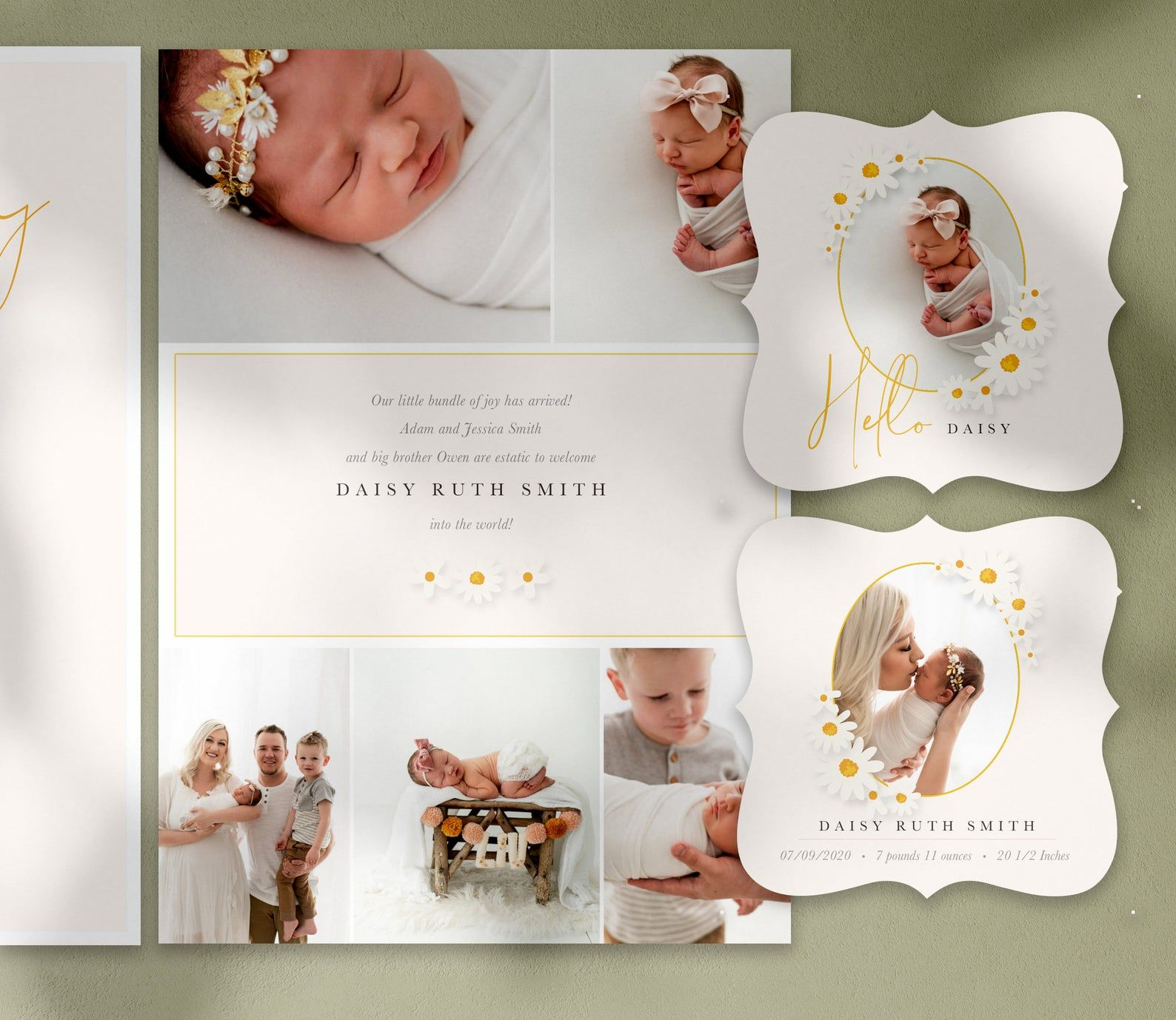 Daisies Birth Announcement Card Free Matching 3x3 Ornate Etsy Photoshop Template Design Photo Card Template Birth Announcement Card