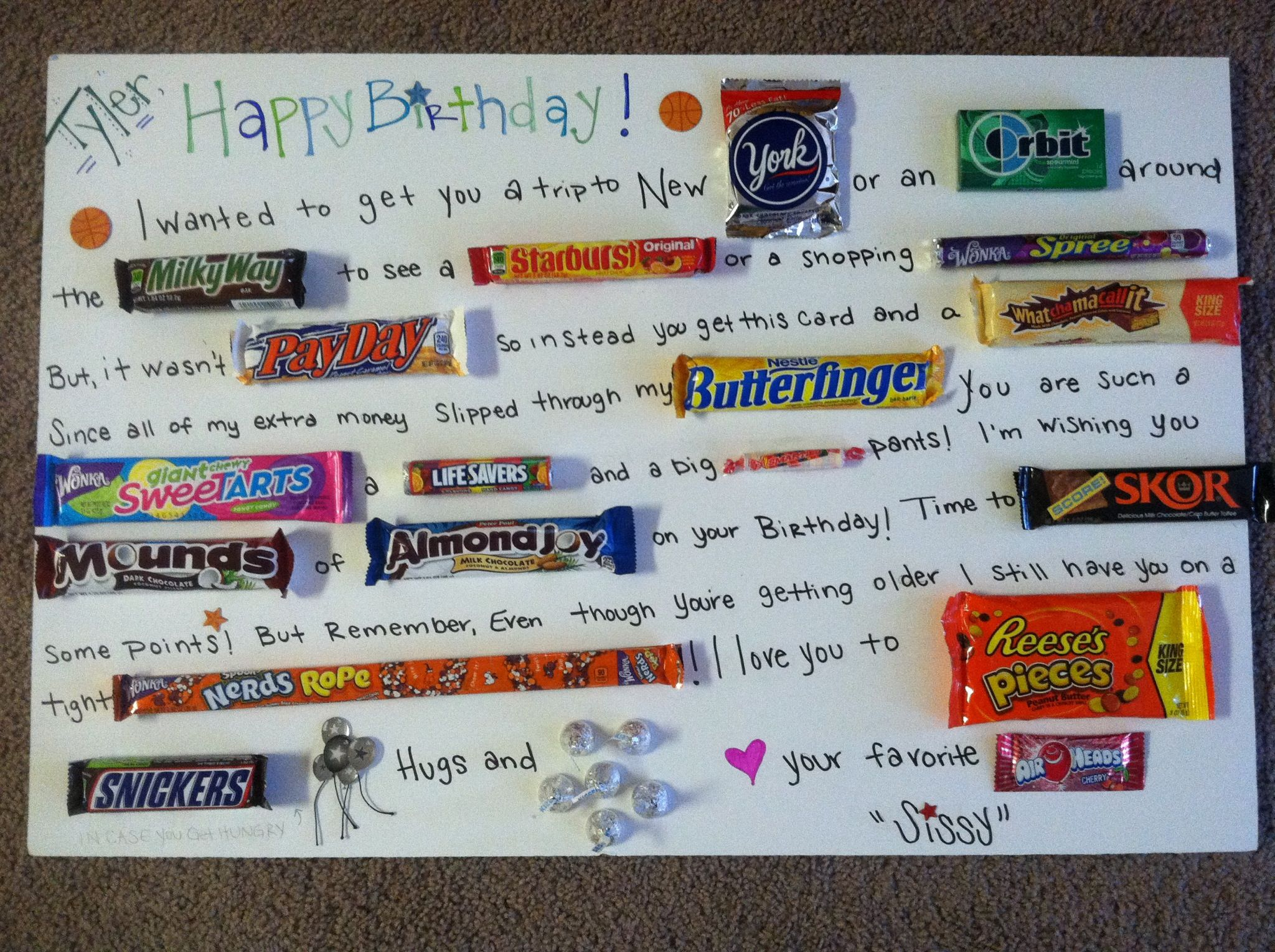 Birthday Candy Card For My Little Brother