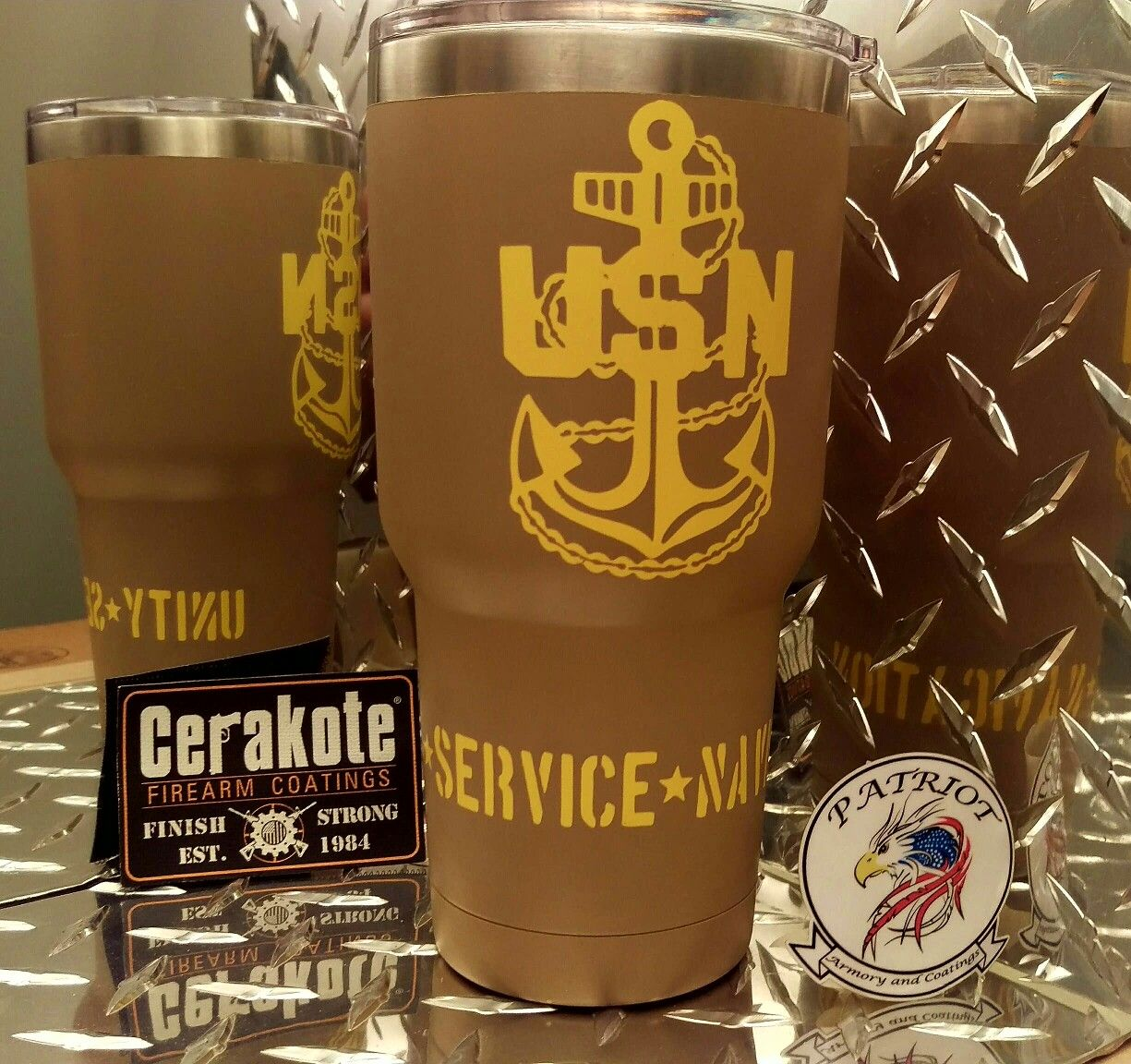 We can Cerakote your  tumbler with just about any design.  Makes A GREAT GIFT!
