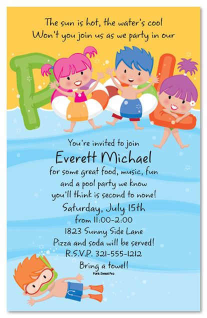 Pool Party Kids Birthday Party Invitations – Pool Birthday Party Invitations