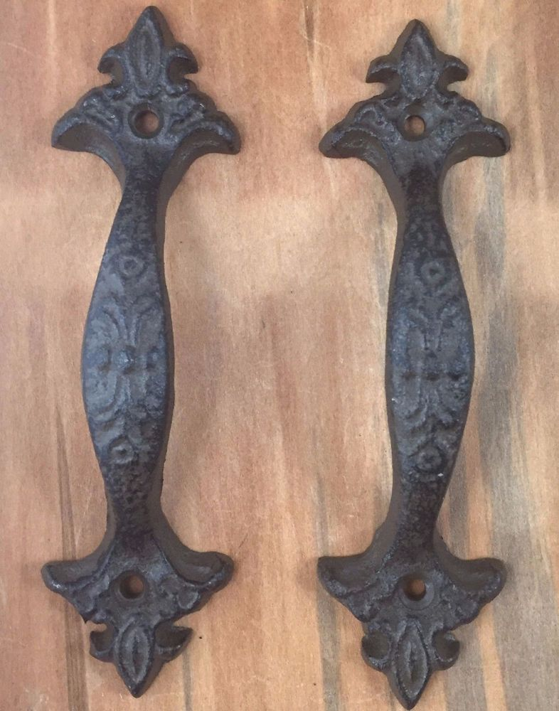 """2 Door Barn Cast Iron Gate Pull Shed Handle Rustic Antique Style Handles 8-1//2"""""""
