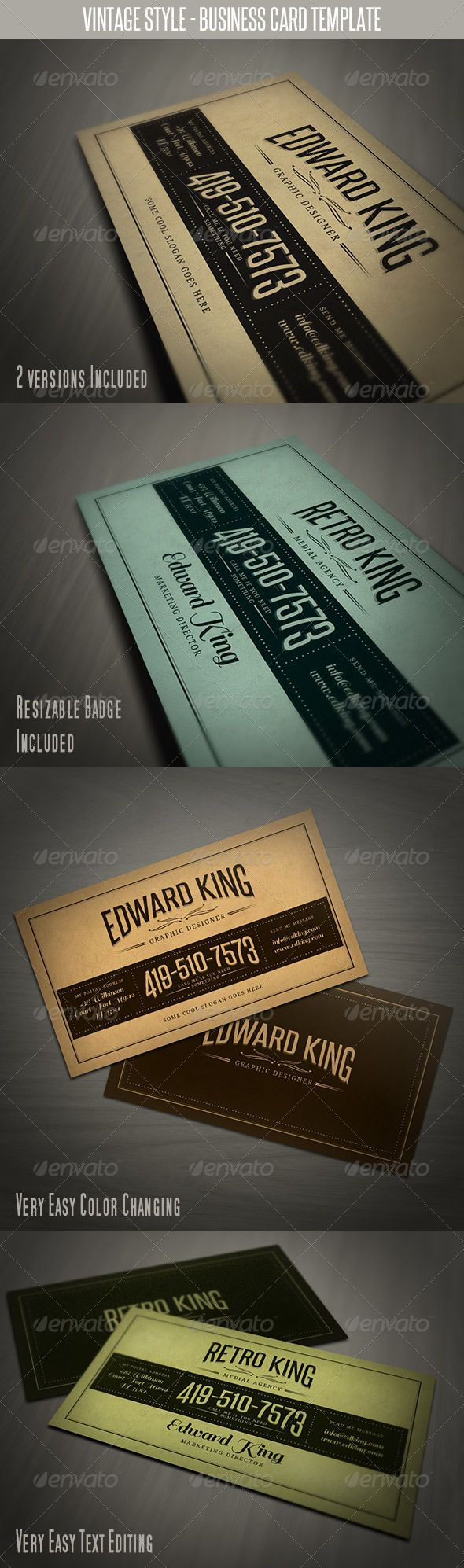 Vintage Style Business Card Template | Card templates, Business ...
