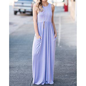 a0c8b7b22d93 GRECERELLE Women's Sleeveless Racerback Loose Plain Maxi Dresses Casual  Long Dresses with Pockets at Amazon Women's