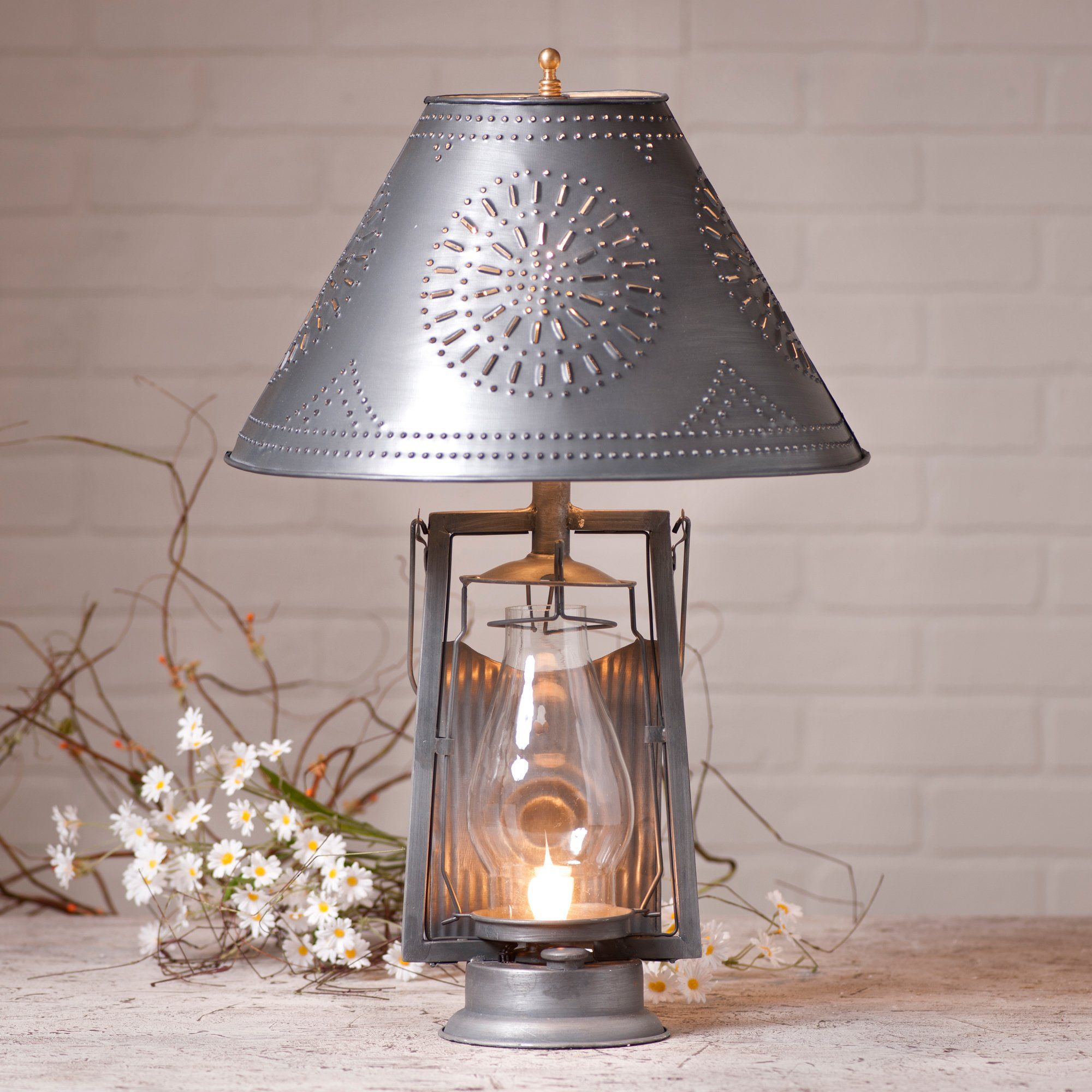 Irvin's Tinware Farmer's Lamp with Shade in Antique Tin