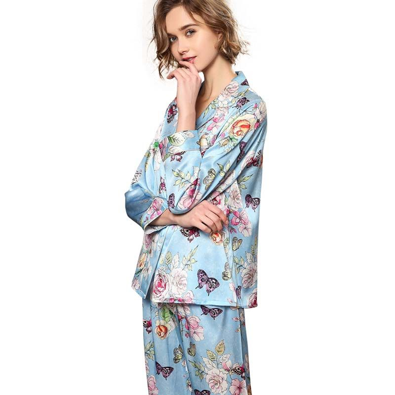 91953c5fd1 2019 New 19 Momme Butterfly Printed Silk Pajama Set