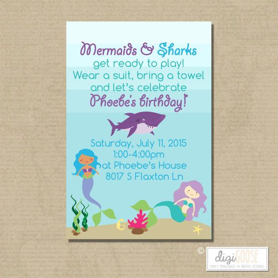Printable MERMAIDS & SHARKS Birthday Party Invitation