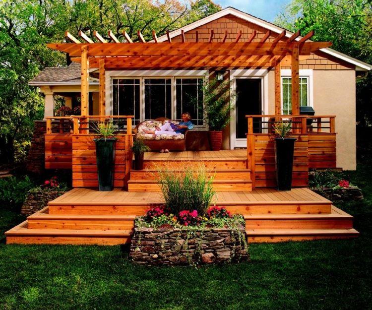 Terrasse en bois avec pergola idée qui va vous enchanter! Patios