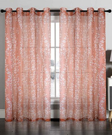 Loving This Rust Semi Sheer Floral Curtain Panel Set Of Two On