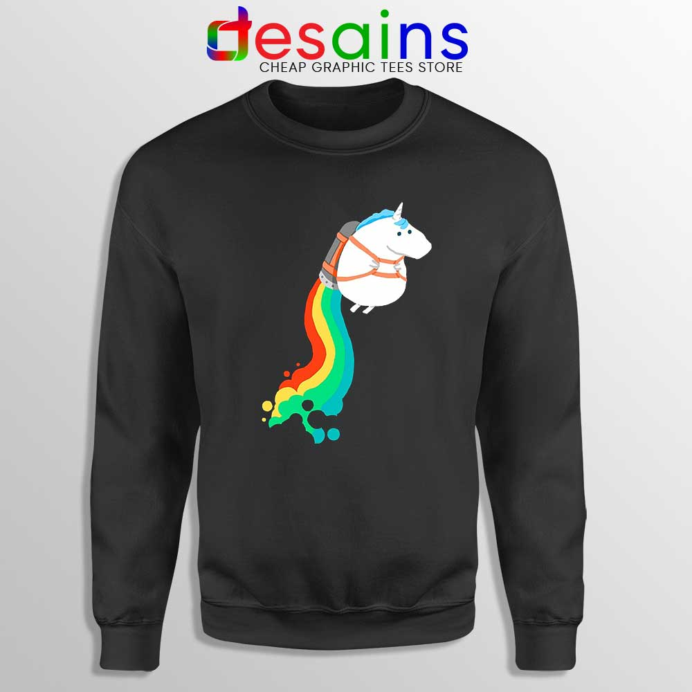 Funny Fat Unicorn Sweatshirt Unicorn on Rainbow Je