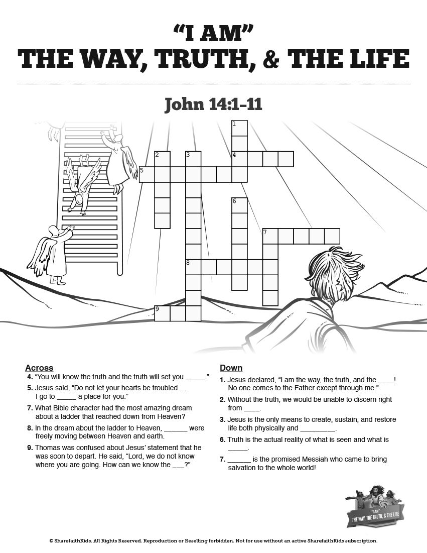 John 14 The Way The Truth And The Life Sunday School Crossword