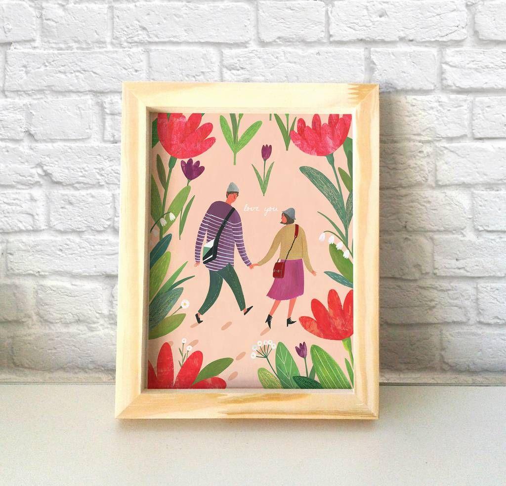 Cuadro con ilustración naif pareja - La Kermesse #naif #decoracion ...