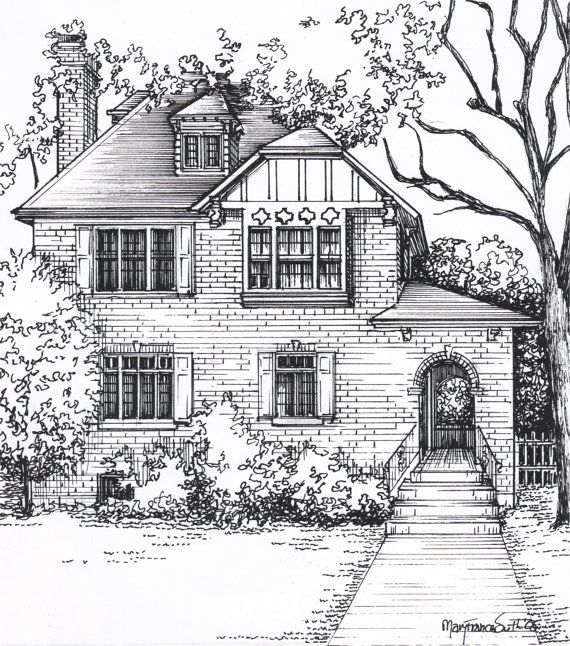 Line Drawing Of Your House : Custom house portraits in ink architectural sketch of