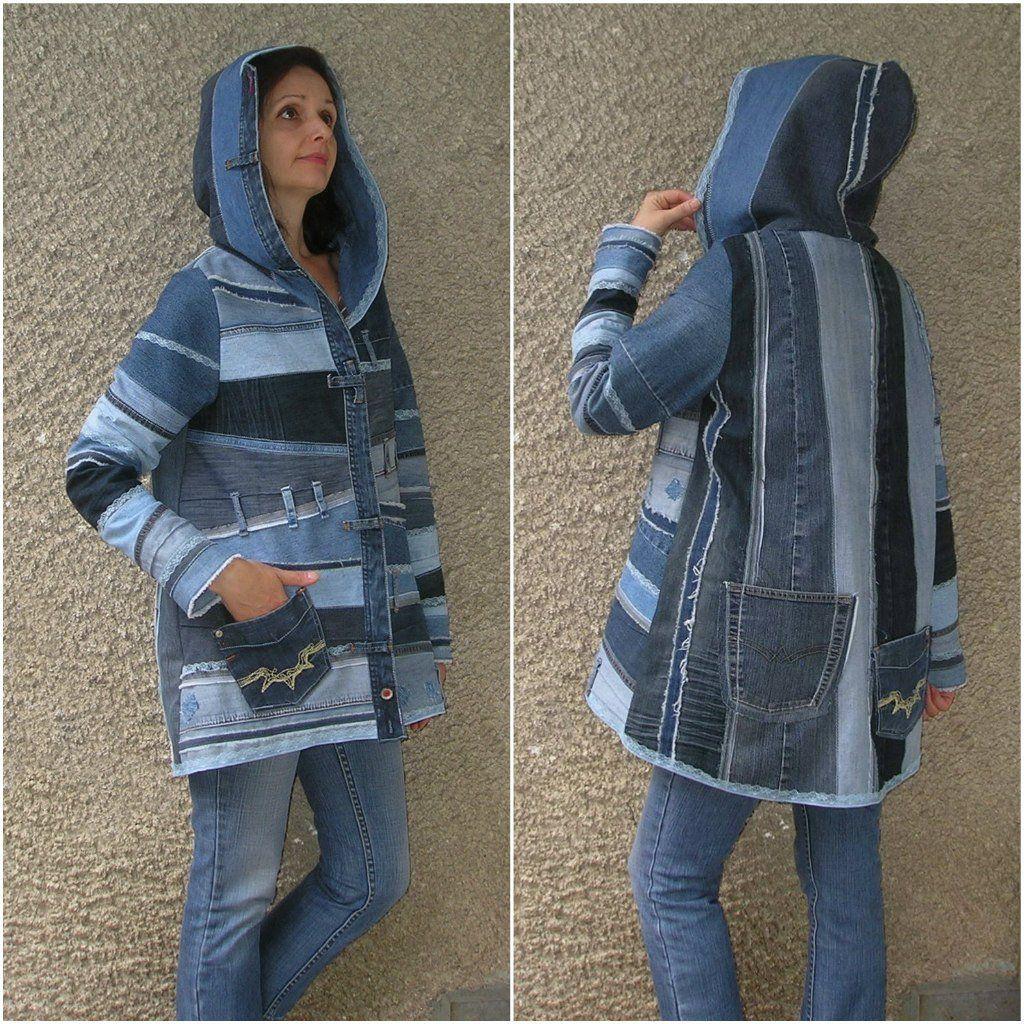 Hooded Jacket Upcycled Clothing By Ecoclo Denim
