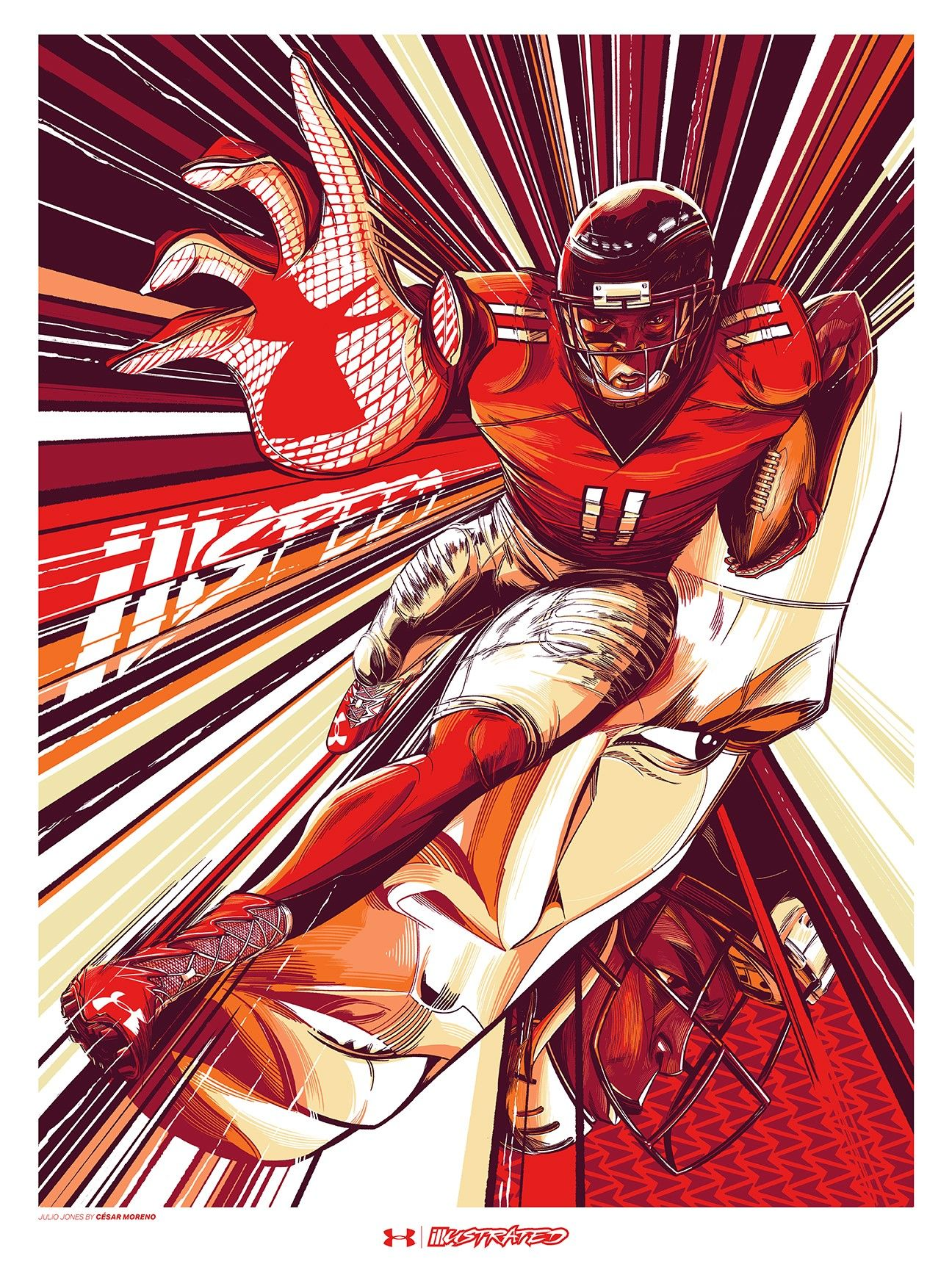Under Armour Turned Its Nfl Athletes Into Comic Book Heros Julio Jones Atlanta Falcons Art Bike Illustration