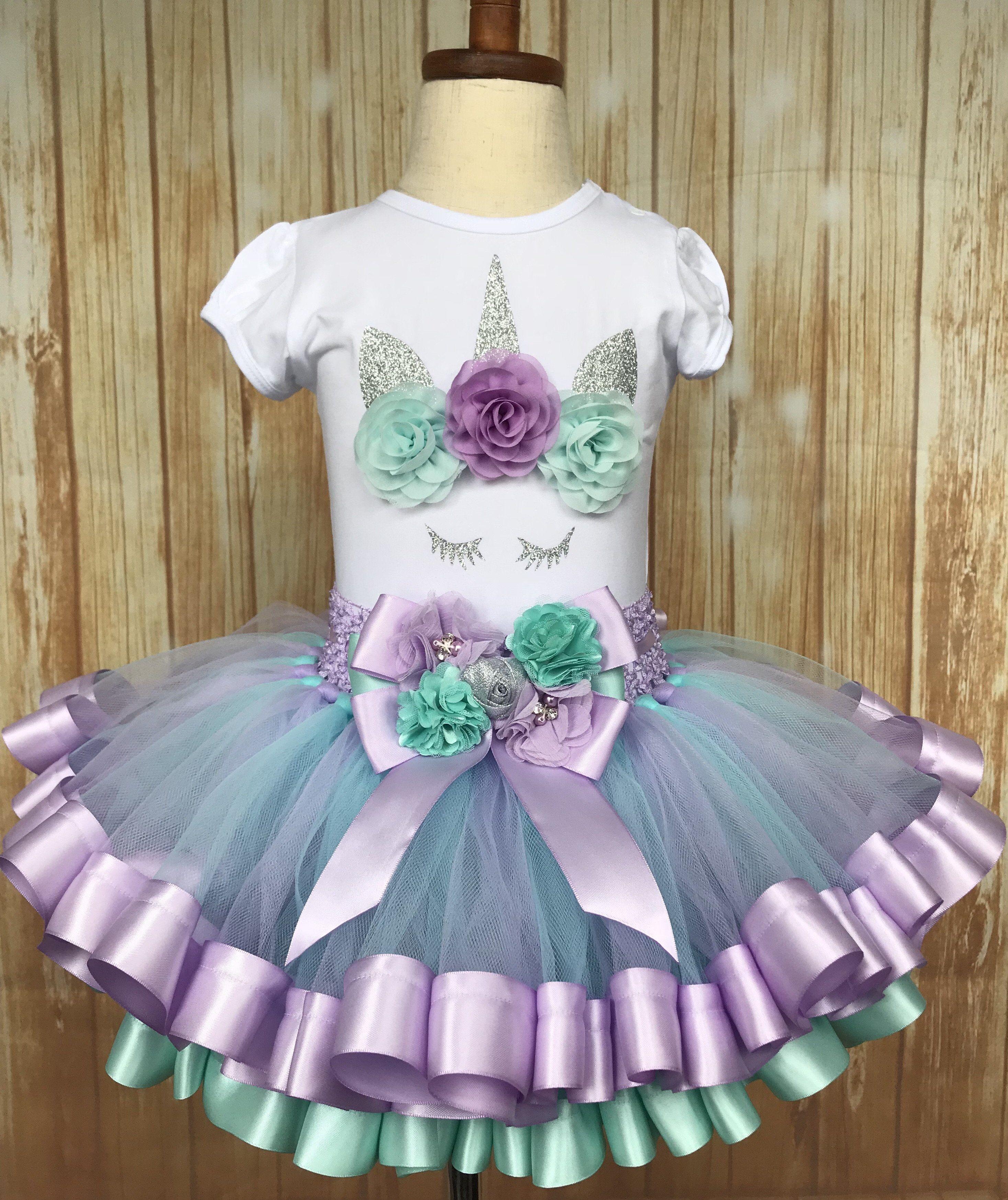 20349b9daab7 Unicorn Ribbon Trimmed Tutu, Unicorn Tutu, Unicorn Birthday Outfit - Little  Ladybug Tutus