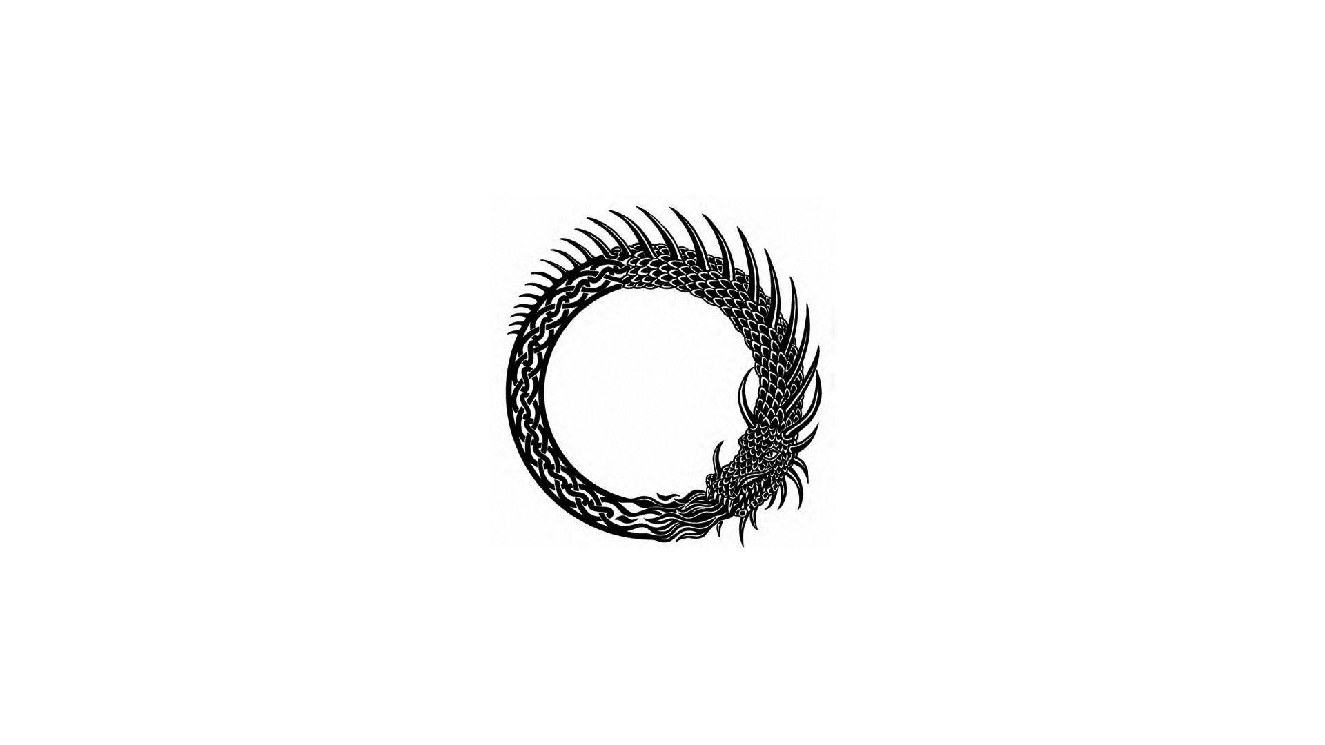 Minimalism Simple Background Dragon Ouroboros Wallpaper Ouroboros Simple Backgrounds Phoenix Tattoo Design