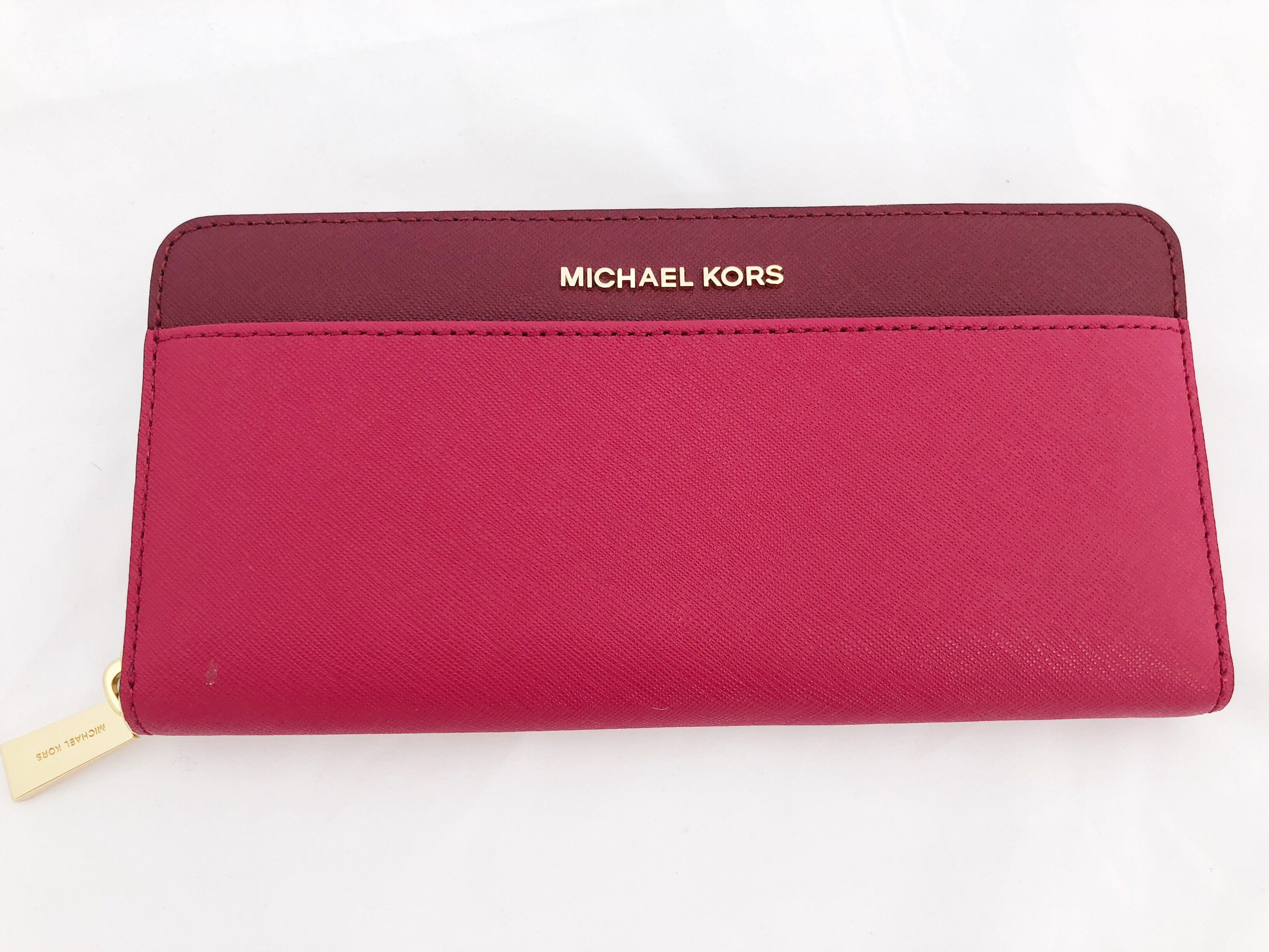 09502bed0ea2 NWT Michael Kors Money Pieces Pocket Zip Around Continental Leather Wallet  Pink Red #GabysBags #Handbags