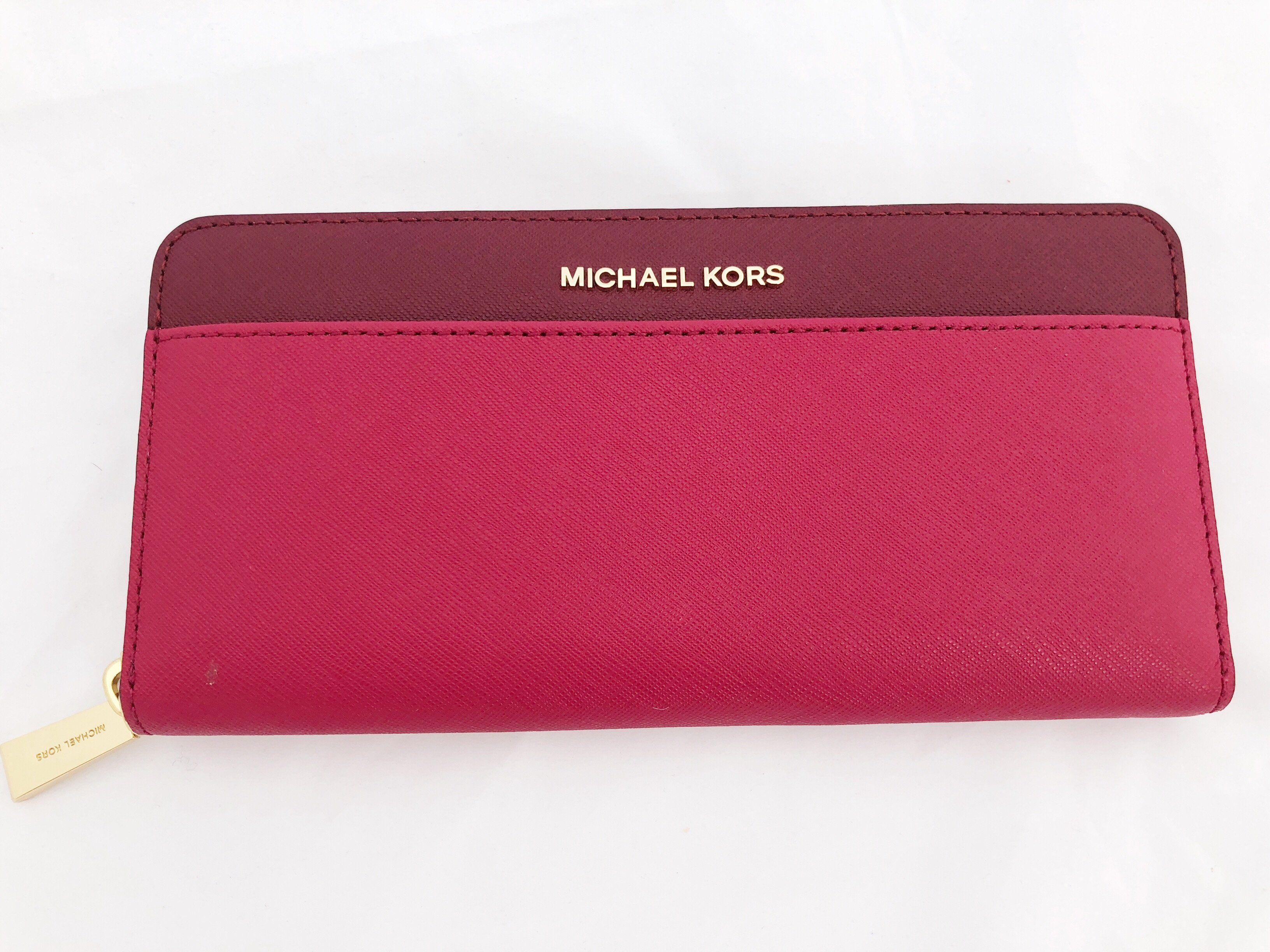 093173da5752cb NWT Michael Kors Money Pieces Pocket Zip Around Continental Leather Wallet  Pink Red #GabysBags #Handbags