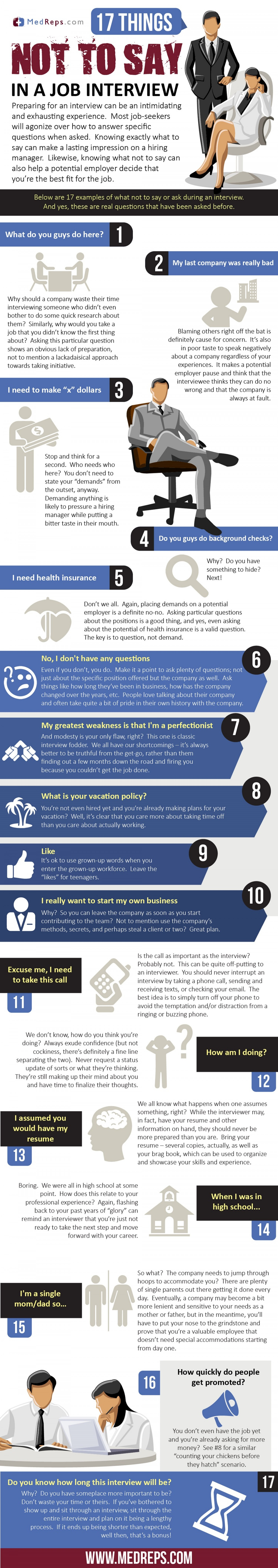 17 things not to say in a job interview infographic - What To Say In An Interview What Not To Say In An Interview