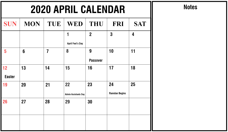 April 2020 Calendar With Holidays Free Printable Calendar Templates Calendar Template Calendar Printables