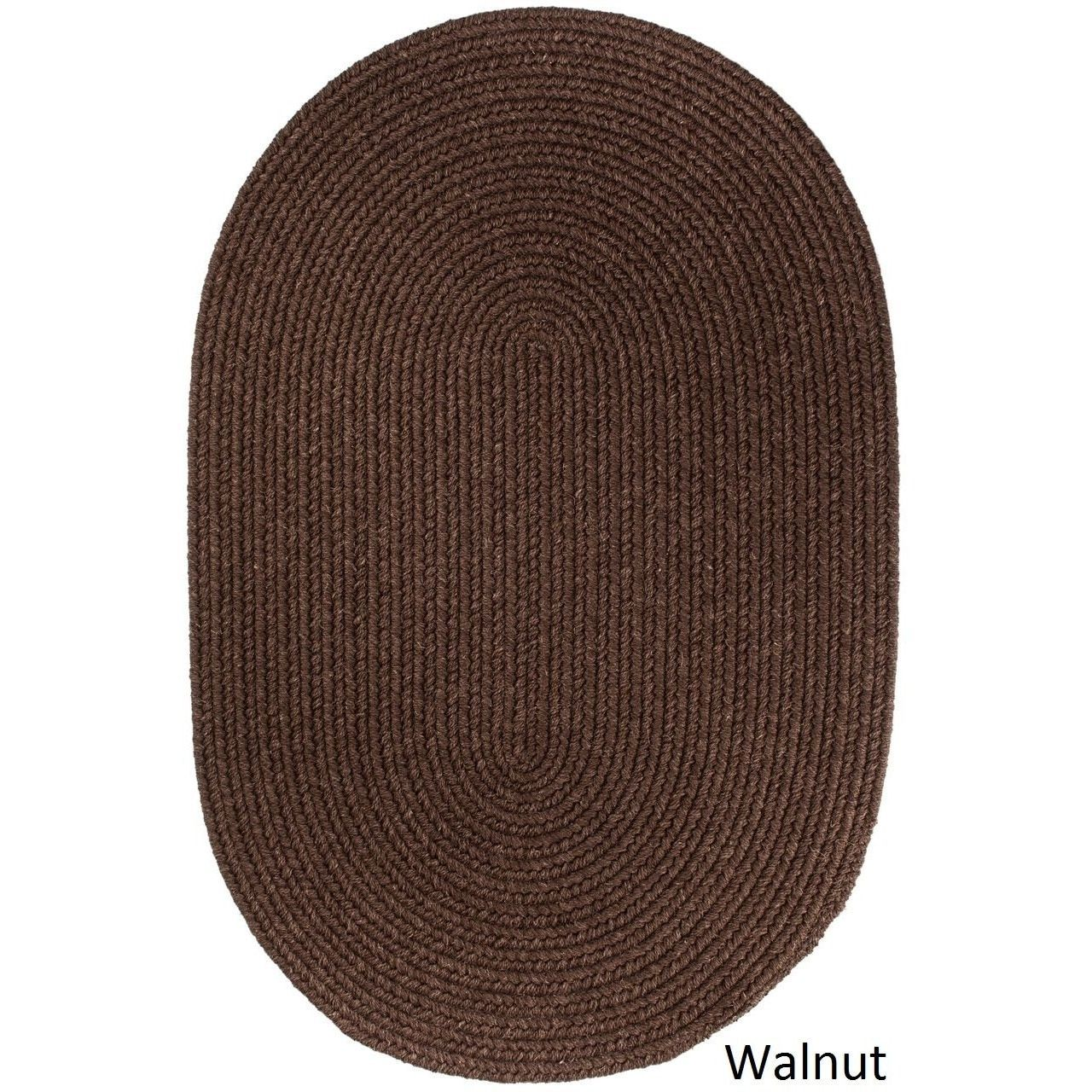 Rhody rug woolux wool oval braided rug u x u wheat brown